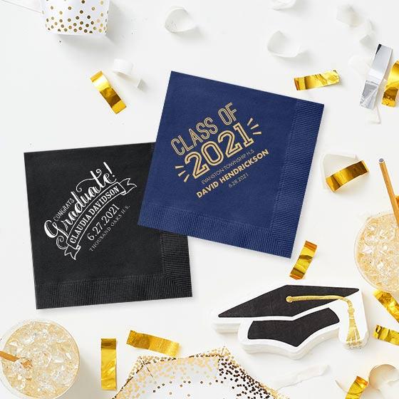 Custom napkins for grad parties.