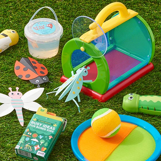 Fun outdoor activities including a toy bug catcher and velcro catch game.