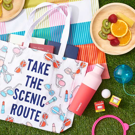 Scene of games, reusable water bottle and treats laid out on a colorful picnic blanket with a travel bag that reads, Take the Scenic Route.