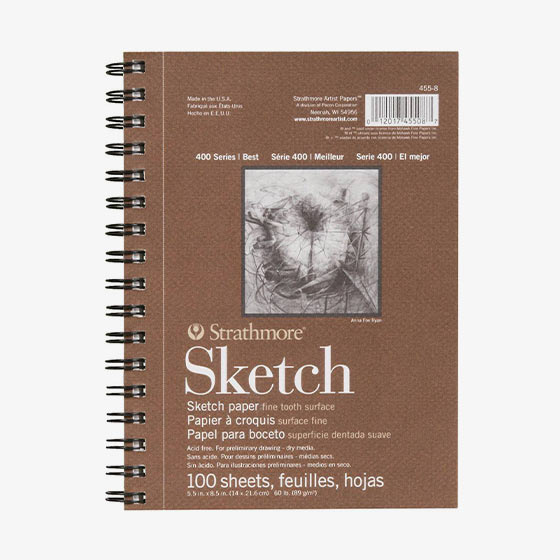 400-series Strathmore sketchpad. Comes with 100 sheets of acid free paper intended for drawing or other dry mediums.
