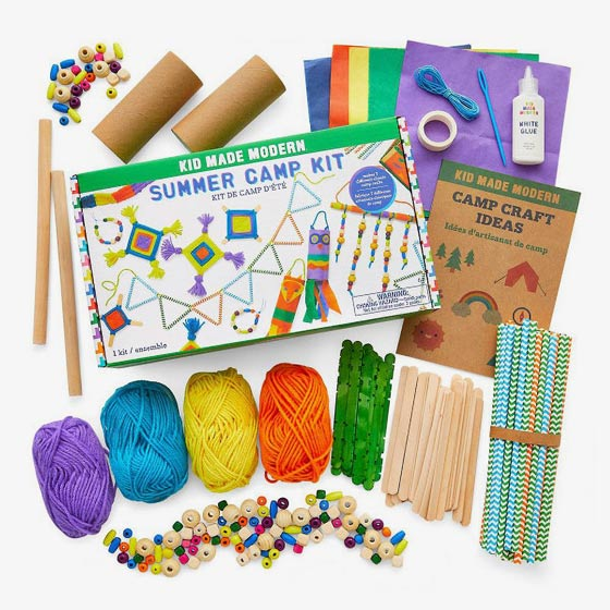Summer camp craft kit full of colorful beads, 4 spools of yarn and patterned straws.