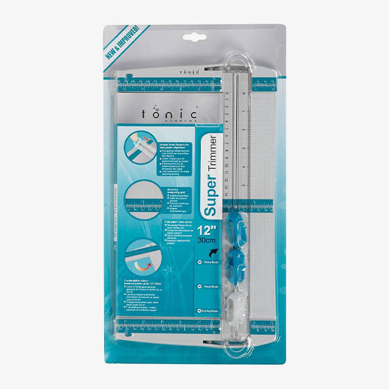 Paper trimmer that is 12 inches in sizes and comes with an additional blade and scoring tool.