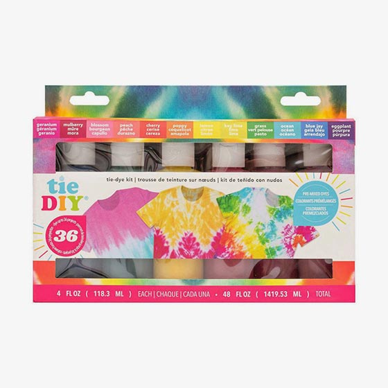 Tie Dye kit that comes with everything you need to create dozens of colorful tie dye projects.