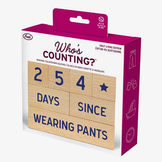 Who's Counting tracker that has beechwood blocks for counting phrases like showering and leaving the house.