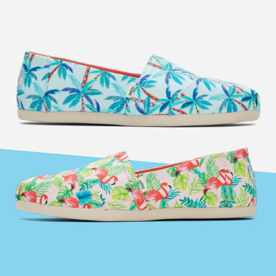 Two fun Paper Source designs including tropical prints placed on TOMS shoes.