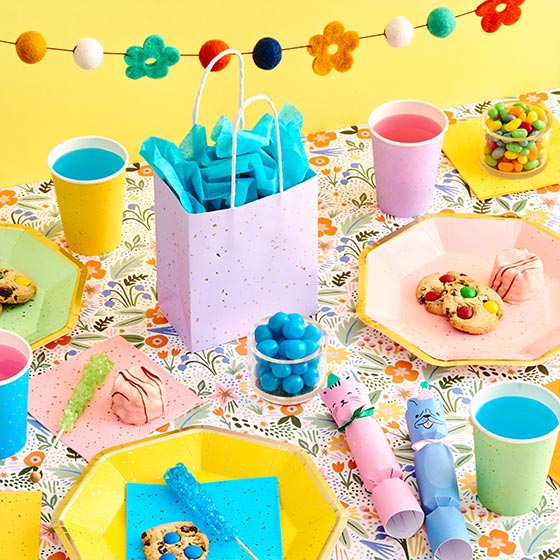 Colorful party supplies including plates, gift bags, cups, party crackers and a garland.