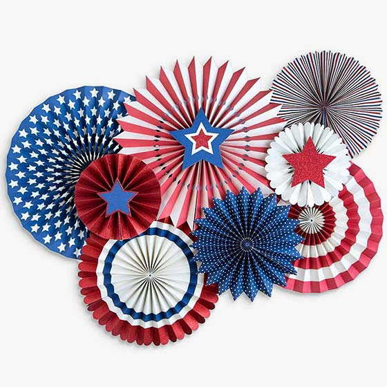 Red, white, blue and star themed party fans.