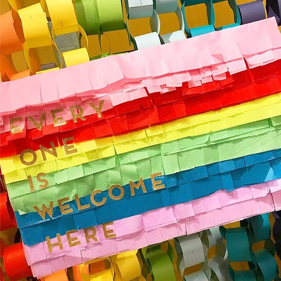 Colorful party decorations to celebrate Pride.