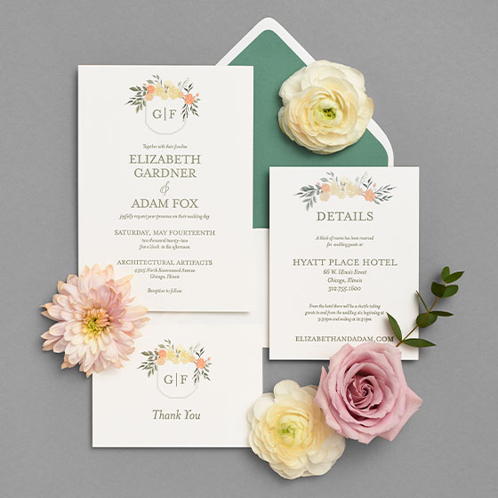 The Garden Crest wedding suite designed by Paper Source.