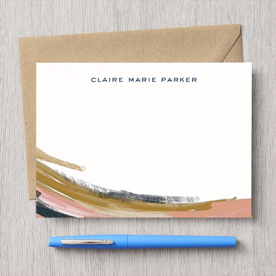 Customizable stationery with abstract paint brush stroke design.