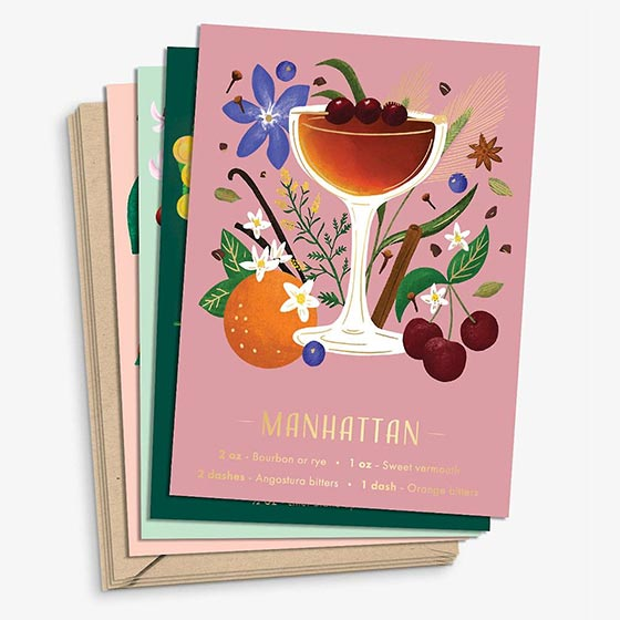 Colorful stationery set of illustrated cocktails with recipes.