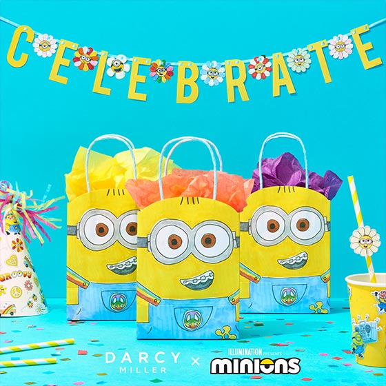 Party accessories featuring Darcy Miller and Minions artwork.