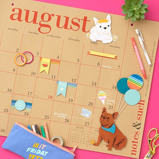 Paper Source Great Big Calendar adorned with cute paper crafts.
