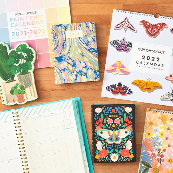 Assorted planners and calendars for the year ahead.