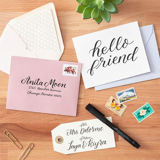 Envelopes and letters with beautiful hand lettering.