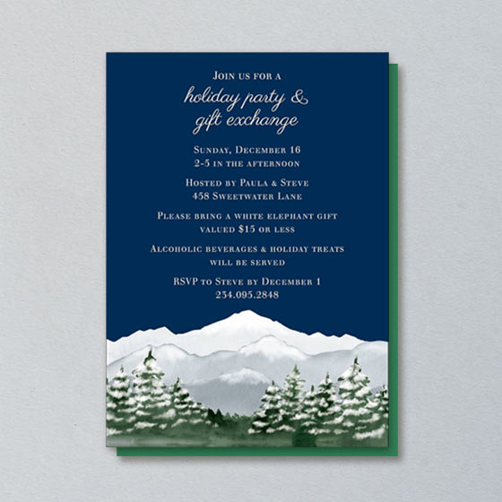 Holiday Party Invite with snowy mountain artwork.