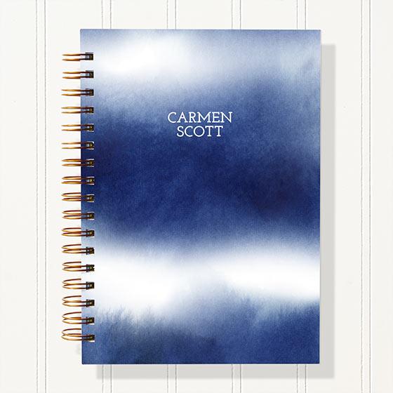 Customizable planner with shibori cover design.
