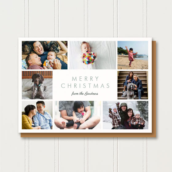 Merry Christmas Blocks Horizontal Photo Card.