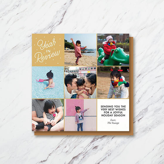 Custom Photo Greeting Card with a multiple square photos for highlighting the past year.