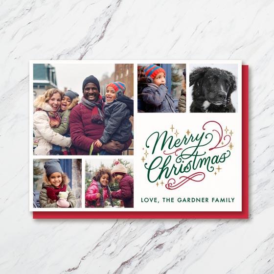 Horizontal Custom Multi-Photo Card that reads, Merry Christmas in beautiful script.