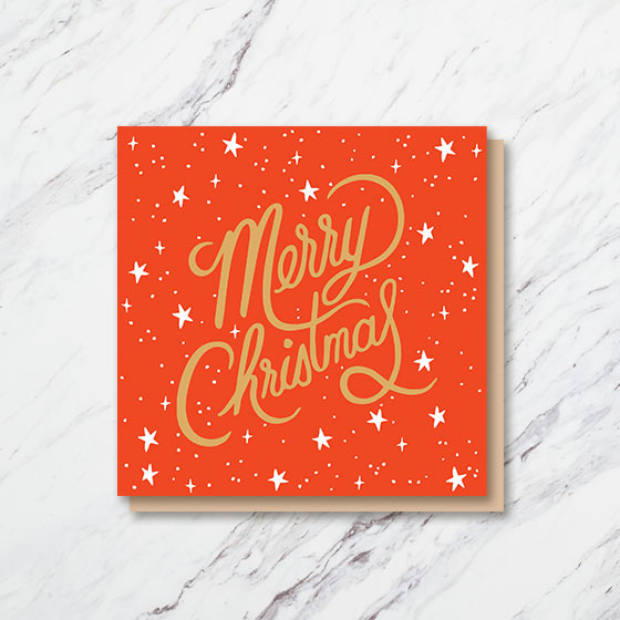 Square Custom Photo Card with Merry Christmas written in beautiful script.