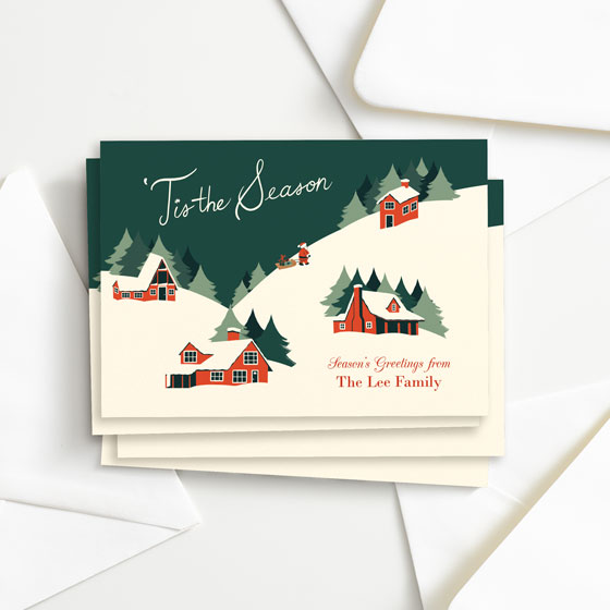 Cozy Cabins Custom Flat Greeting Card designed by Paper Source.