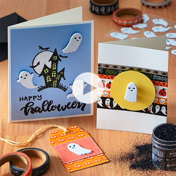Adorable handcrafted cards with Halloween themes.
