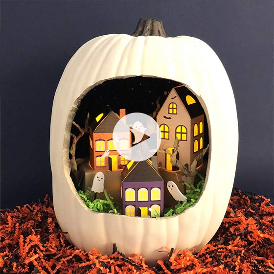 Video shows how to create a haunted pumpkin.