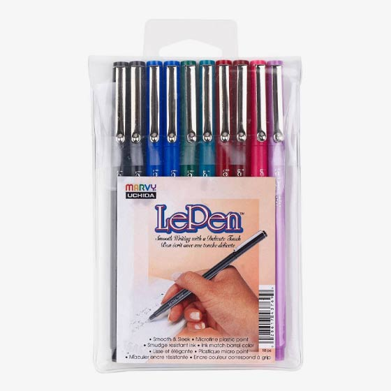 Set of 10 LePen delicate touch and micro fine plastic point pens.