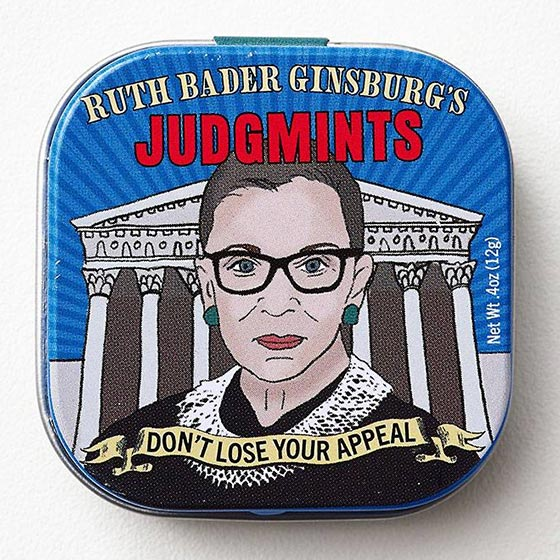 Hilarious mints with a picture of Ruth Bader Ginsburg on the face of the product called Judgmints.