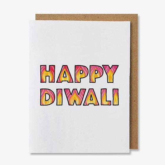 Greeting card that reads, Happy Diwali.