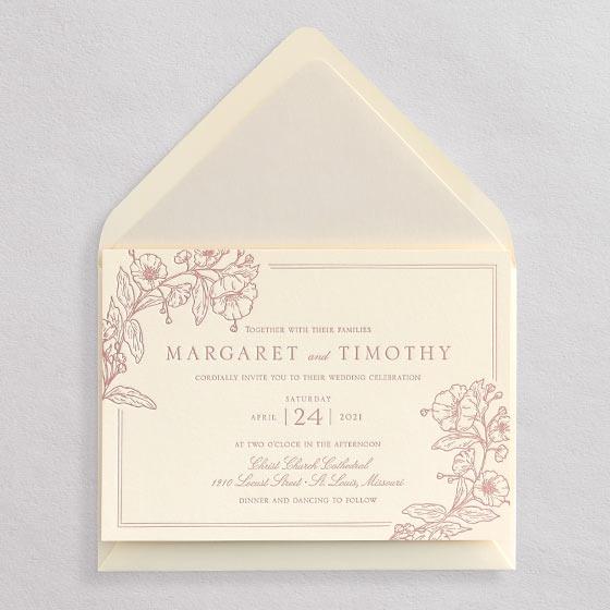 horizontal floral letterpress wedding invitation