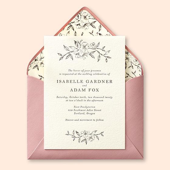letterpress wedding invitation with floral envelope liner