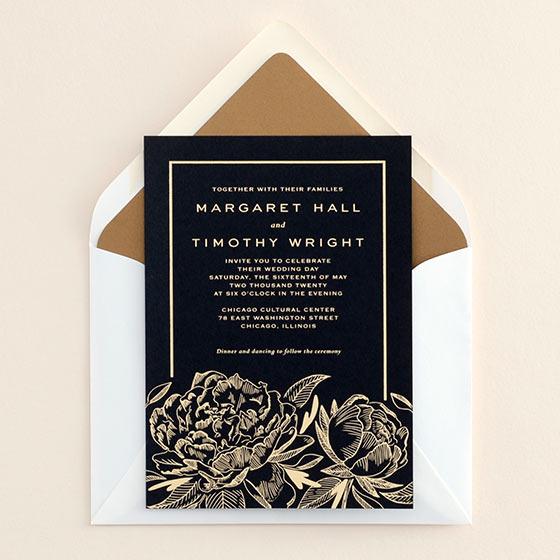 gold on black peony wedding invitation
