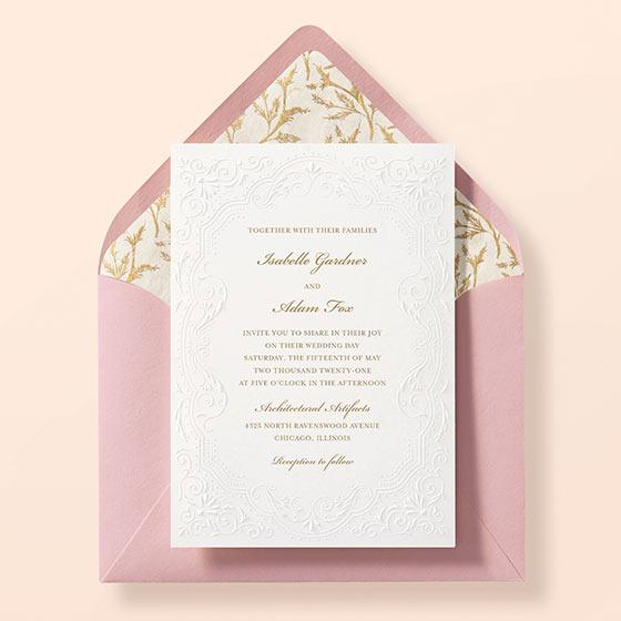 classic embossed wedding invitation