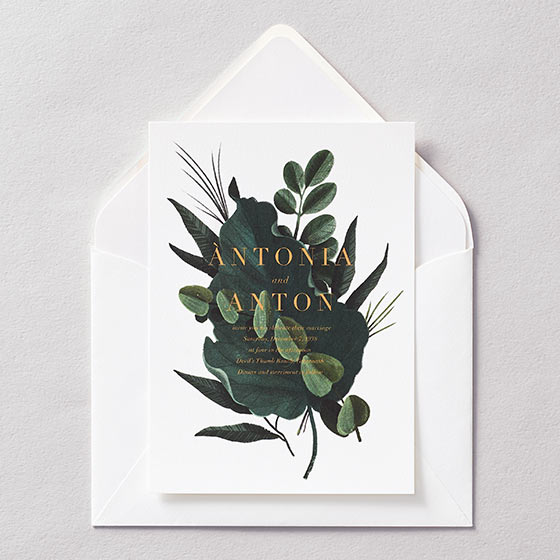 striking bold greenery wedding invitation