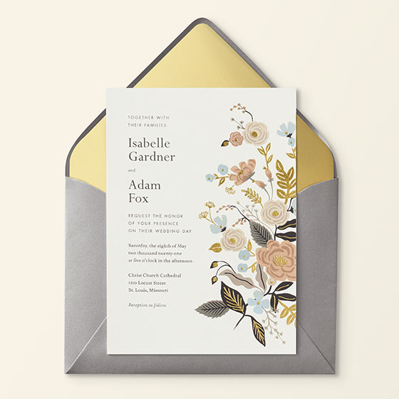 dusty colored floral wedding invitation