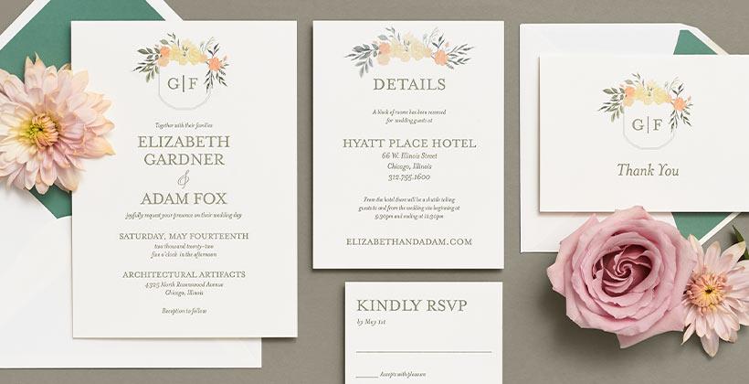 Paper Source designed garden wedding suite.